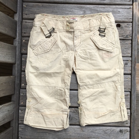 Free People Side Buckle Khaki Bermuda Shorts